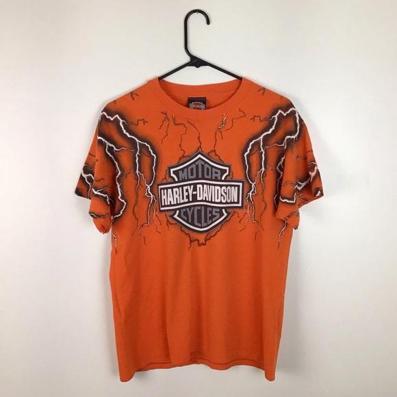 Harley-Davidson Tops - 90's Harley Davidson Rare Lightning Tee Orange L